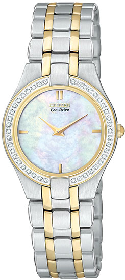 Citizen Two Tone Stainless Steel Eco-Drive Stiletto Mother Of Pearl Dial Diamonds EG3154-51D