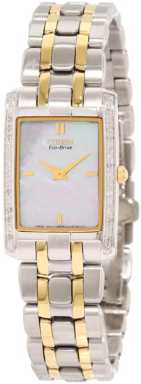 Citizen Two Tone Stiletto Eco-Drive Sapphire Mother of Pearl Dial Diamonds EG3174-53D