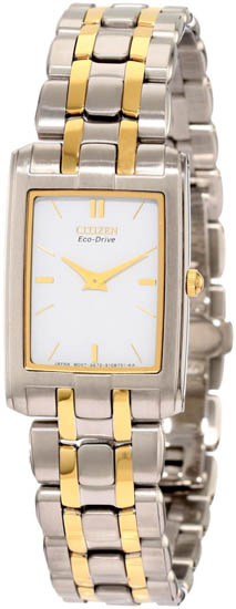 Citizen Two Tone Stainless Steel Stiletto Eco-Drive Sapphire White EG3184-50A
