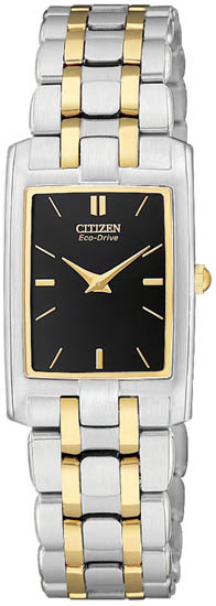 Citizen Two Tone Stainless Steel Stiletto Eco-Drive Sapphire Black EG3184-50E