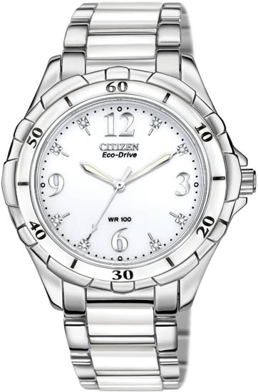 Citizen Ceramic White Dial EM0030-59A