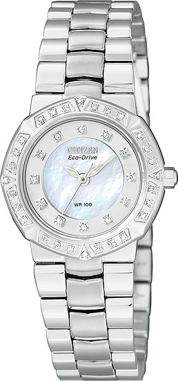 Citizen Stainless Steel Serano Eco-Drive with Diamonds and Mother of Pearl Dial EP5830-56D