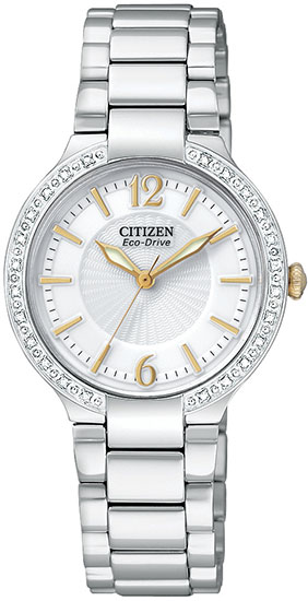 Citizen Stainless Steel Firenza Eco-Drive Diamond Bezel White Dial Sapphire EP5974-56A