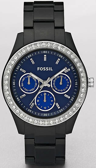 Fossil Stella Black Plastic Resin Link Bracelet Blue Dial Day Date Crystal Quartz ES2827