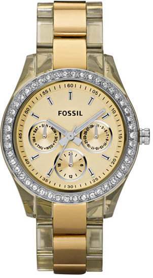 Fossil Stainless Steel Case Gold Plastic Resin Band Gold Dial Quartz ES2867