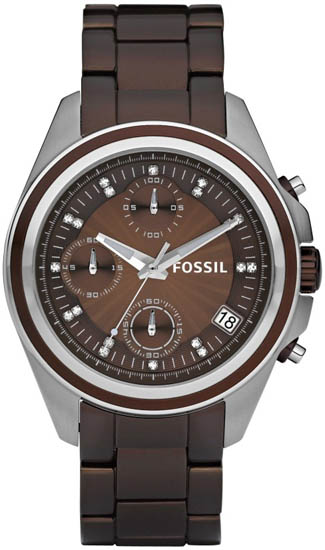 Fossil Brown Aluminum Chronograph Quartz Decker Boyfriend Brown Dial ES2914