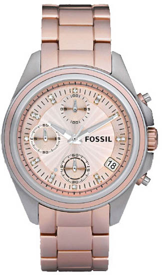Fossil Pink Aluminum Chronograph Quartz Decker Boyfriend Pink Dial ES2915
