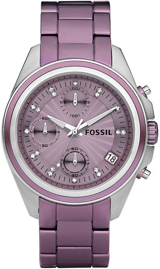 Fossil Purple Aluminum Chronograph Quartz Decker Boyfriend Purple Dial ES2916