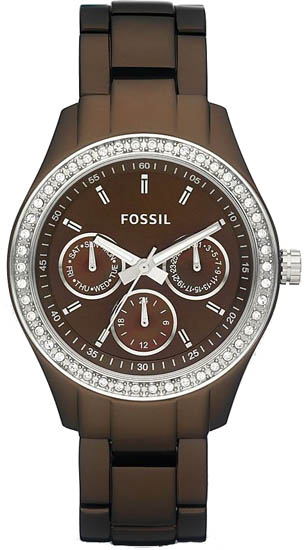 Fossil Brown Stainless Steel Stella Brown Dial Day Date ES2949