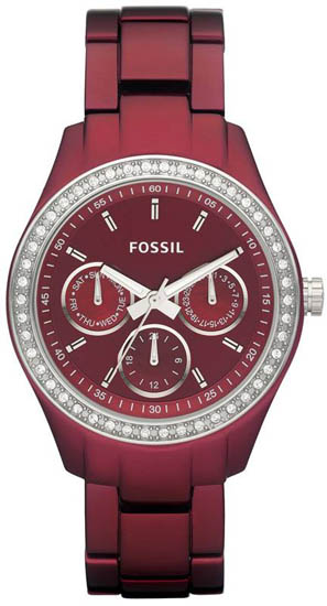 Fossil Red Aluminum Chronograph Quartz Stella Red Dial ES2950