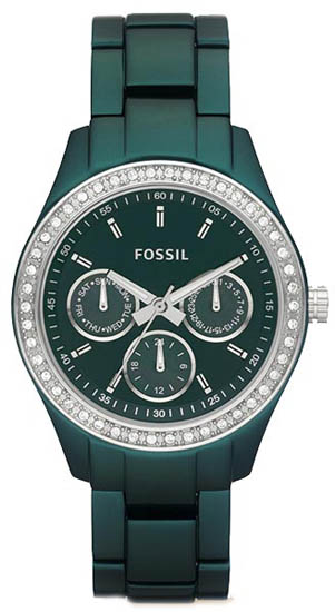 Fossil Green Aluminum Chronograph Quartz Stella Green Dial ES2951