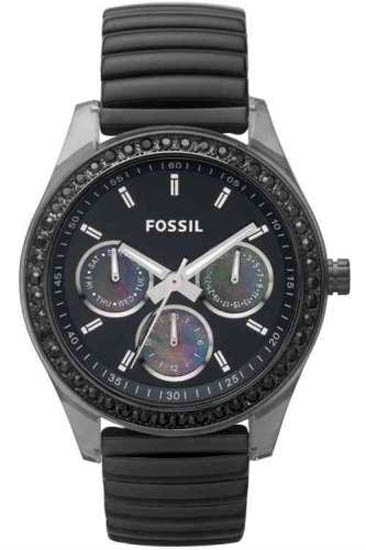 Fossil Stella Black Expansion Bracelet Black Dial Day Date Crystal Quartz ES2954