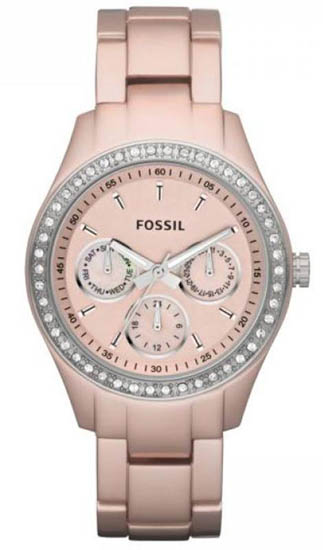 Fossil Pink Aluminum Chronograph Quartz Stella Pink Dial ES2975