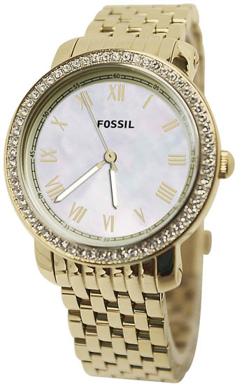 Gold Tone Stainless Steel Case and Bracelet Mother of Pearl Dial