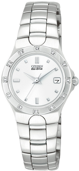 Citizen Stainless Steel Corso Eco-Drive with Diamonds White Dial EW0730-54A
