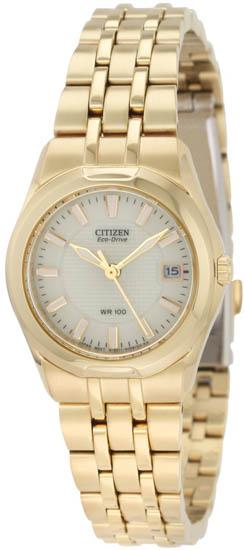 Citizen Gold Tone Stainless Steel Corso Eco-Drive White Dial EW0942-56P