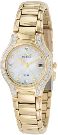 Citizen Gold Tone Silhouette Eco-Drive Mother Of Pearl Dial Diamonds EW0972-55D