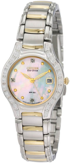 Citizen Gold Tone Silhouette Eco-Drive Mother Of Pearl Dial Diamonds EW0974-50D