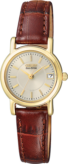 Citizen Gold Tone Silhouette Eco-Drive Leather Strap EW1272-01P