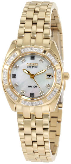 Citizen Stainless Steel Paladion Eco-Drive Diamonds Mother Of Pearl Dial EW1592-51D