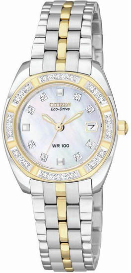 Citizen Stainless Steel Paladion Eco-Drive Diamonds Mother of Pearl Dial EW1594-55D