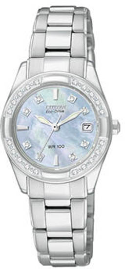 Citizen Stainless Steel Regent Sapphire Eco-Drive Diamonds Mother Of Pearl Dial EW1821-55Y