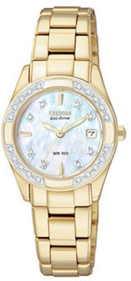 Citizen Gold Tone Regent Sapphire Eco-Drive Diamonds Mother Of Pearl Dial EW1822-52D