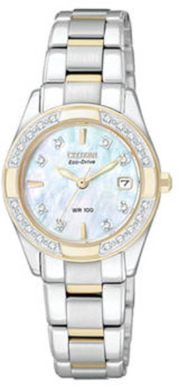 Citizen Two Tone Regent Sapphire Eco-Drive Diamonds Mother Of Pearl Dial EW1824-57D