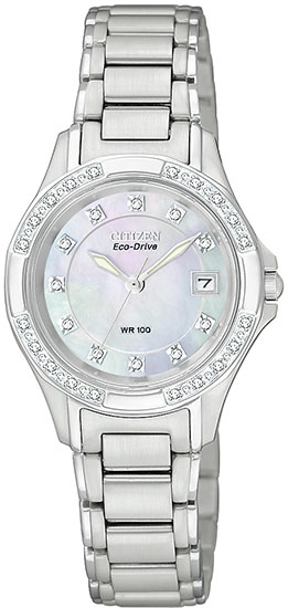 Citizen Eco-Drive Silhouette Mother of Pearl Dial Diamonds EW2130-51D