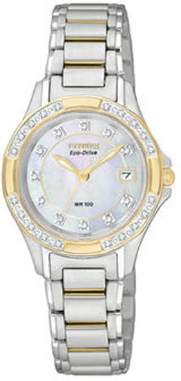 Citizen Two Tone Eco-Drive Silhouette Mother of Pearl Dial Diamonds EW2134-50D
