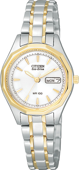 Citizen Two Tone Stainless Steel Eco-Drive White Dial EW3144-51A
