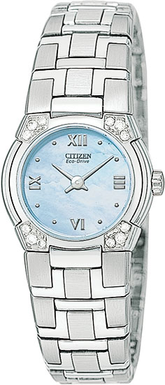 Citizen Stainless Steel Eco-drive Firenza Blue Mother of Pearl Dial EW8030-52N