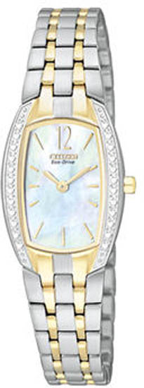 Citizen Gold Tone Silhouette Eco-Drive Mother Of Pearl Dial EW9964-54D