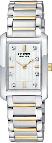 Citizen Two Tone Stainless Steel Palidoro Eco-Drive Diamond Accented White Dial EX1074-59A