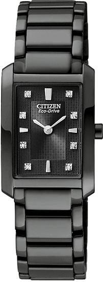 Citizen Black Stainless Steel Palidoro Eco-Drive Diamond Accented Black Dial EX1077-51E