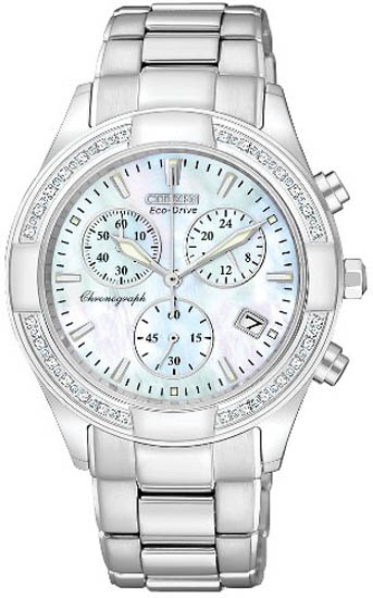 Citizen Eco-Drive Regent Chronograph Mother of Pearl with Diamonds FB1220-53D