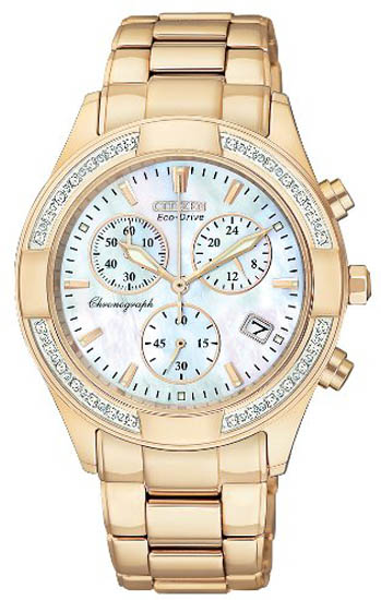 Citizen Gold Tone Eco-Drive Regent Chronograph Mother of Pearl with Diamonds FB1223-55D