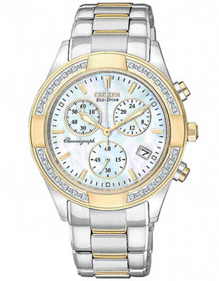 Citizen Gold Tone Eco-Drive Regent Chronograph Mother of Pearl with Diamonds FB1224-52D
