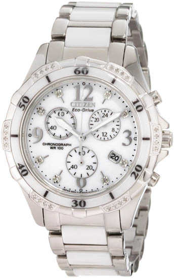 Citizen Stainless Steel Case Eco-Drive Ceramic Band Chronograph White Dial FB1230-50A