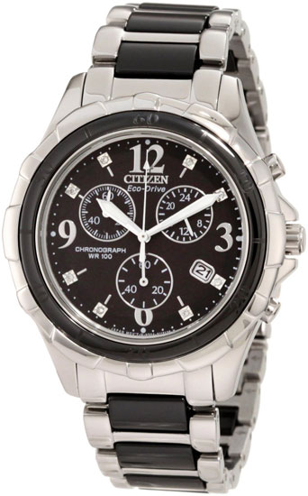 Citizen Two Tone Stainless Steel Eco-Drive Chronograph Black Dial Date Display FB1241-53E