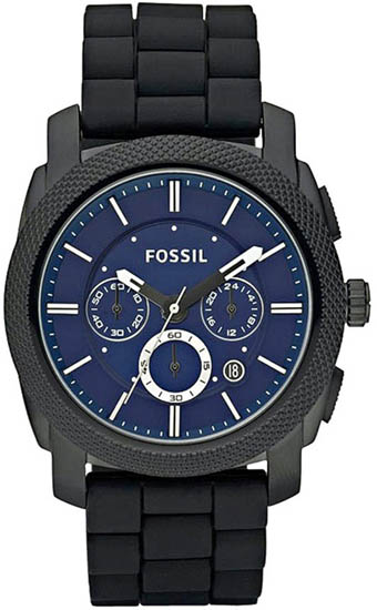 Chronograph Stainless Steel Case Rubber Strap Blue Dial