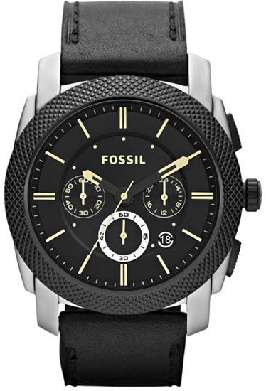 Stainless Steel Case Leather Strap Black Dial Chronograph