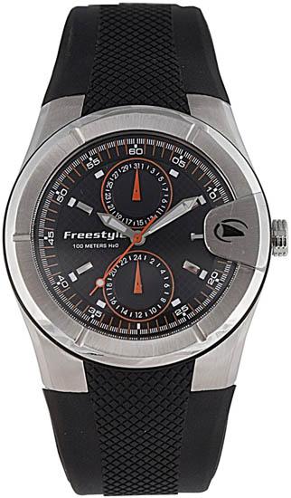Freestyle fs80948 mens watch stainless steel vortex quartz date black dial strap for Vortix watches