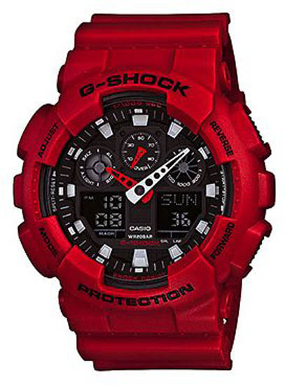 Casio Men Casio GA100B-4A G-Shock Red G-Shock Analog Digital Anti-Magnetic at Sears.com