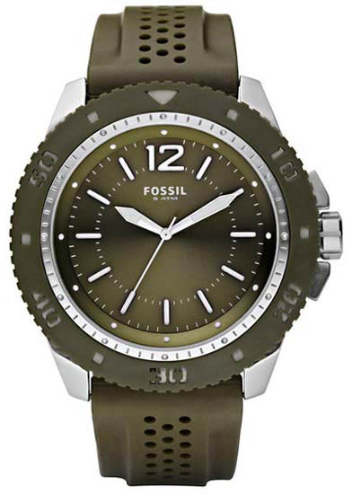 Fossil Ceramic Quartz Olive Dial Silicone Strap JR1269