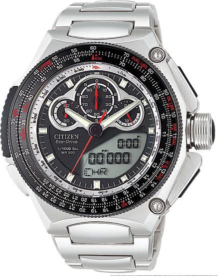Citizen Eco Drive Stainless Steel Promaster SST Analog Digital Alarm Chronograph JW0010-52E