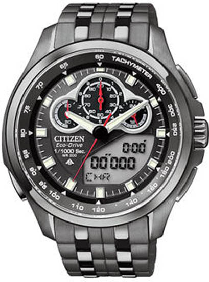 Citizen Black Eco Drive Promaster SST Analog Digital Alarm Chronograph JW0097-54E