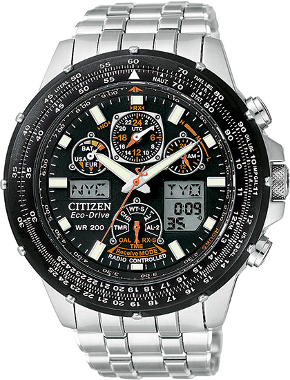Citizen Stainless Steel Skyhawk AT Multi-Band Atomic Eco-Drive Flight Chronograph JY0000-53E