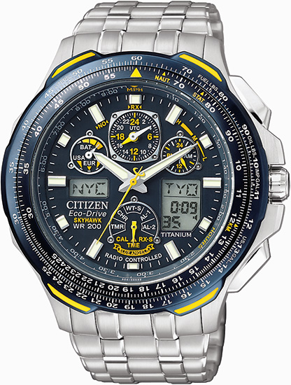 Citizen Titanium Skyhawk AT Blue Angels Multi-Band Atomic Eco-Drive Flight Chronograph JY0050-55L