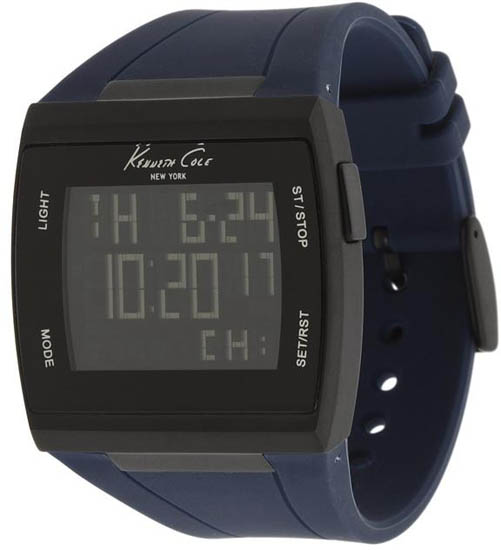 Kenneth Cole Black Stainless Steel Case Digital Dial Blue Resin Strap Chronograph Alarm KC1669